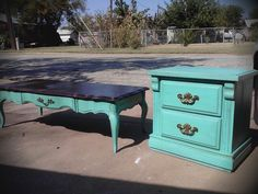 New beauties! (The blue is a hit!) Turquoise vintage furniture www.thevintagebutterflyonline.com