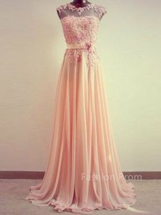 Custom Made Chiffon Floor-Length Lace Bridesmaid Dress,Pink Prom Dress,Lace Ciffon Prom Dress,Formal Dress,Graduation Dress,Party Dress
