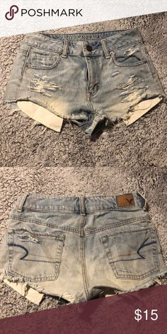 04f29bf494bb9 American Eagle high rise shorts 00 Light wash distressed high rise shorts  in good condition American Eagle Outfitters Shorts Jean Shorts