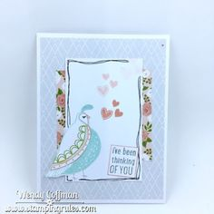 Stamping Rules!: Thinking of You Card April Stamp of the Month Flock Together with Close To My Heart Hello Lovely papers.