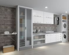 lavanderia Laundry Room Layouts, Laundry Room Organization, Kitchen Layouts, Kitchen Styling, Kitchen Storage, Laundy Room, Luxury Kitchen Design, Home Projects, Sweet Home