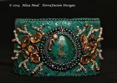 """Blue Lagoon""  Fish Leather & Bead Embroidery Cuff designed by Alisa Neal  thebeadnikdivas.etsy.com"