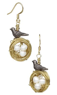 Jewelry Design - Earrings with TierraCast® Oxidized Pewter Beads, White Lotus™ Cultured Freshwater Pearls and Wirework - Fire Mountain Gems and Beads