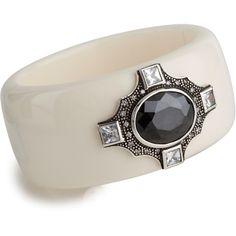 Miriam Salat Deco Jewel Cuff ($425) ❤ liked on Polyvore featuring jewelry, bracelets, ivory, art deco jewellery, medallion jewelry, ivory bangle, polish jewelry and miriam salat jewelry