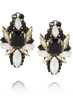 Erickson Beamon | Girls On Film gold-plated Swarovski crystal earrings | NET-A-PORTER.COM