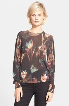 Theory 'Kidi' Floral Print Silk Sweater available at #Nordstrom