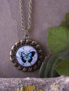 Blue butterfly necklace, Butterfly pendant, Vintage butterfly necklace, Butterfly jewelry Nature necklace, Forest jewelry Glass dome pendant