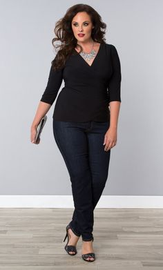 Another great top for Vegas is our plus size Femme Fatale Faux Wrap Top.  Shop our entire made in the USA collection online at www.kiyonna.com.  #KiyonnaPlusYou