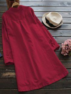 Gracila Women Pure Color Long Sleeve Buttons Vintage Shirt Dresses