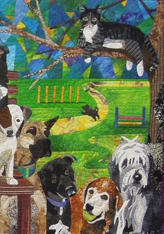 Close up, Sunday in the Park with Mittens by Nancy S. Brown. 2013 DVQG featured artist.  Photo by Quilt Inspiration