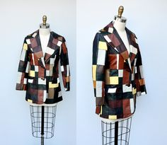 Vintage Patchwork Leather Jacket - Color Block Jacket - Multi Color Colored - Coat Jacket - Geometric Boho Hippie Indie Gypsy size S - M by ItaLaVintage on Etsy