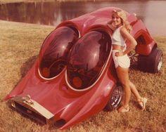 "The ""Roach Coach"", 1978.  Designer: Ed Newton  Body: Dan Woods & Ed Newton custom fiberglass sculpture  Chassis: Granatelli Indy Car  Paint: Egyptian Body Shop  Interior: Egyptian Body Shop  Assembly: Egyptian Body Shop  Fuel Cell: Atlas Rocket"