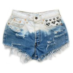 """ALL SIZES """"TRIBE"""" Vintage Levi high-waisted denim shorts blue ombre... ($40) ❤ liked on Polyvore featuring shorts, bottoms, pants, short, denim shorts, high rise jean shorts, short jean shorts, high waisted denim shorts and blue shorts"""