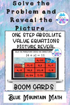 Are you looking for an interactive and self-correcting resource to practice one step absolute value equations with your students? There are 2 different pictures with 16 problems for each picture on solving absolute value equations. Students start with the picture totally covered by the answer boxes. As they answer each question correctly, more and more of the covered picture is revealed.