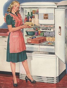 Shop Vintage Retro Women Kitchen Full Refrigerator created by superiorwomen. Personalize it with photos & text or purchase as is! Retro Mode, Mode Vintage, Vintage Ads, Vintage Stuff, Vintage Wife, Vintage Apron, Vintage Modern, Retro Images, Vintage Pictures