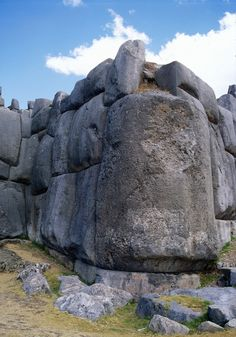 Great big corner stone, Incan fortress of Sacsayhuaman, just outside Cuzco, Peru