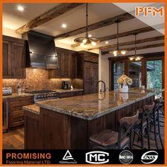 New kitchen decor brown cabinets dark wood ideas Dark Brown Cabinets, Dark Wood Kitchen Cabinets, Dark Wood Kitchens, Brown Kitchens, Kitchen Flooring, Cool Kitchens, Kitchen Wood, Wood Flooring, Hardwood Floors