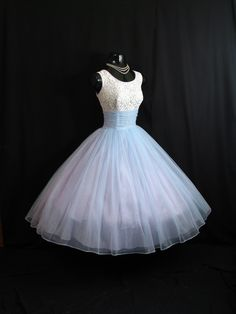 Vintage 1950's 50s Baby Blue Beaded Studs Lace Ruched Chiffon Circle Skirt Party Prom Wedding Dress Gown M/L Size. $349.99, via Etsy.