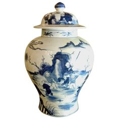 19th Century Blue And White Temple Jar