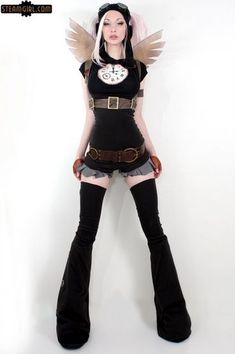 Kato Steampunk Raver - clock short, thigh high boots, wings, harness, belt, aviator goggles, aviator hat, shorts, fingerless gloves