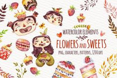 Watercolor sweets and flowers by talloshau's illustrations on @creativemarket