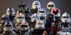 Custom Star Wars lego helmets.
