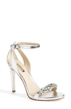 Free shipping and returns on GUESS 'Catarina' Ankle Strap Sandal (Women) at Nordstrom.com. A crystal-encrusted strap extends the glamorous aura of a gleaming metallic sandal topped with a slim ankle strap.