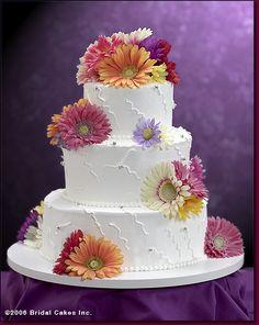 Wedding Cake with fresh Gerbera Daisies