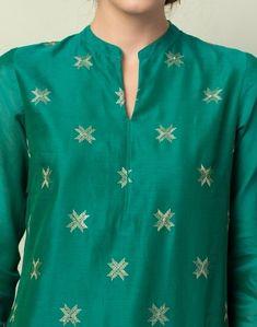 Cotton Silk Aari Buti Long Kurta Churidar Neck Designs, Kurta Neck Design, Kurta Designs Women, Sleeves Designs For Dresses, Dress Neck Designs, Blouse Designs, Punjabi Dress, Punjabi Suits, Embroidery Works