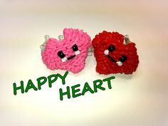 Happy Heart Tutorial by feelinspiffy (Rainbow Loom) Rainbow Loom Tutorials, Rainbow Loom Patterns, Rainbow Loom Creations, Rainbow Loom Charms, Rainbow Loom Bracelets, Rubber Band Charms, Rubber Bands, Crafts For Kids, Arts And Crafts
