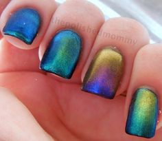 Rainbow Bohemian Gradient Nails by The Polished Mommy (This looks like motor oil to me! In a good way, of course. Gradient Nails, Toe Nails, Galaxy Nails, Holographic Nails, Fancy Nails, Pretty Nails, Boho Chic, Estilo Boho, Beautiful Nail Art