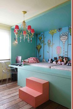 An absolutely gorgeous built-in bed in a kids room so cute for a girls bedroom! Built In Beds For Kids, Bunk Beds Built In, Kids Bunk Beds, My New Room, My Room, Dorm Room, Casa Kids, Deco Design, Awesome Bedrooms