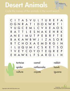 Habitats Word Search: Desert Animals   Worksheet   Education.com