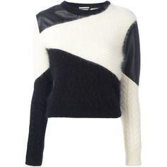 Fausto Puglisi colour block jumper ($1,475) ❤ liked on Polyvore featuring tops, sweaters, white, white top, jumpers sweaters, block jumper, color block tops and colorblock top