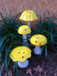 Vintage Glass Dish Mushrooms with Ladybugs - OOAK Repurposed Glass Dish Toadstools - Yellow Garden Art - Whimsical Yard Art by BlueCottageCreation on Etsy #gardenyardartrepurposed