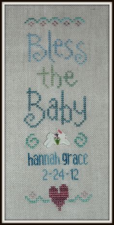 Custom Personalized Handstitched Baby Sampler, Bless The Baby, Boy or Girl, Ready to Frame. $40.00, via Etsy.