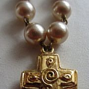 Vintage Costume Jewelry - POGGI PARIS Designer Faux Pearl Necklace with Byzantine Style Cross
