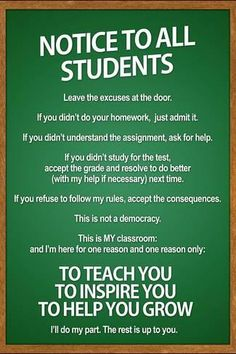 Poster: Notice to all Students Classroom Rules Poster : 36x24in