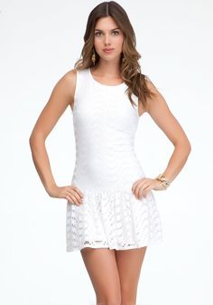 bebe Drop Waist Eyelet Dress Day Dresses White-m