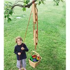 Pulley Set with Wooden Reels and Nylon Ropes- this wood be so great for a tree house