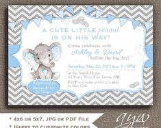 358 best unique baby shower invitations images on pinterest in 2018 elephant baby shower invitation boy elephant baby boy shower invites elephant little peanut baby shower invitations filmwisefo