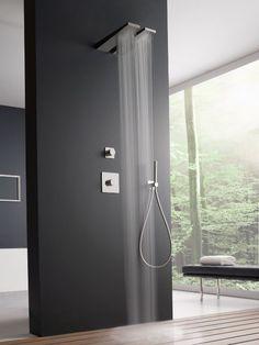 Wall-mounted 1-spray steel overhead #shower 100 by ZAZZERI | #design Fabrizio Batoni @Rubinetterie Zazzeri