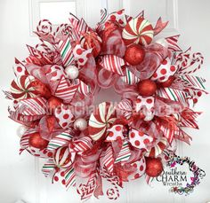 Deco Mesh CHRISTMAS Peppermint Themed Wreath For Door or Wall Red White