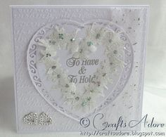 "Wedding Congratulations Card - ""To Have & To Hold"" Handmade Elegant Wedding Embossed Glittered Flower Heart Wreath Card - Stamps by Chloe, Tonic Affection Dies & Crafter's Companion Embossing Folder"