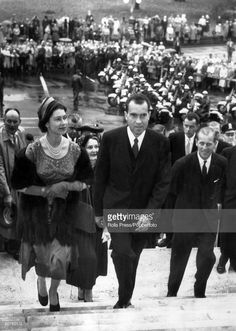 British Royalty, Royal Tour of the United States, pic: 18th October 1957, Washington, USA, HM, Queen Elizabeth II with the Duke of Edinburgh, right and escorted by US, Vice-President Richard Nixon, as they climb the Capitol steps for a reception and luncheon.