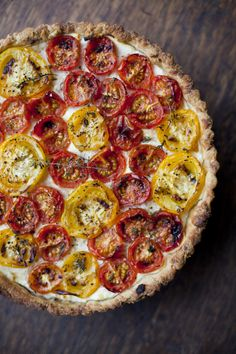 Tomato, Ricotta and Thyme Tart. Love that he made his own crust, but if you are short on time use a very good quality frozen one. Recipe by Donal Skehan