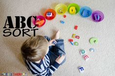 Creating an ABC Sort for your toddler is both a math and literacy activity. Toddlers sort letter from their puzzle and toys in this alphabet based game. Sorting Activities, Preschool Learning Activities, Preschool Lessons, Alphabet Activities, Toddler Activities, Teaching Kids, Crafts For 2 Year Olds, Preschool Education, Toddler Fun