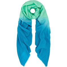 Turquoise ombre cashmere scarf ($78) ❤ liked on Polyvore featuring accessories, scarves, ombre scarves, cashmere shawl, turquoise scarves, cashmere scarves and turquoise shawl