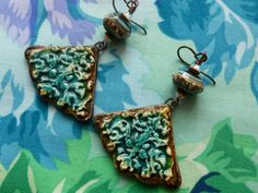 Burnished Baroque-Style Baubles, Rustic Boho Ceramic Earrings, One Of A Kind Artisan Made, Zolanna, bluhealer, Northernblooms