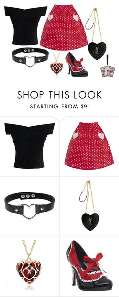 """""""Queen of hearts"""" by lauren53103 on Polyvore featuring Chicwish, Yves Saint Laurent, Funtasma, Olympia Le-Tan, Costume and QueenOfHearts"""